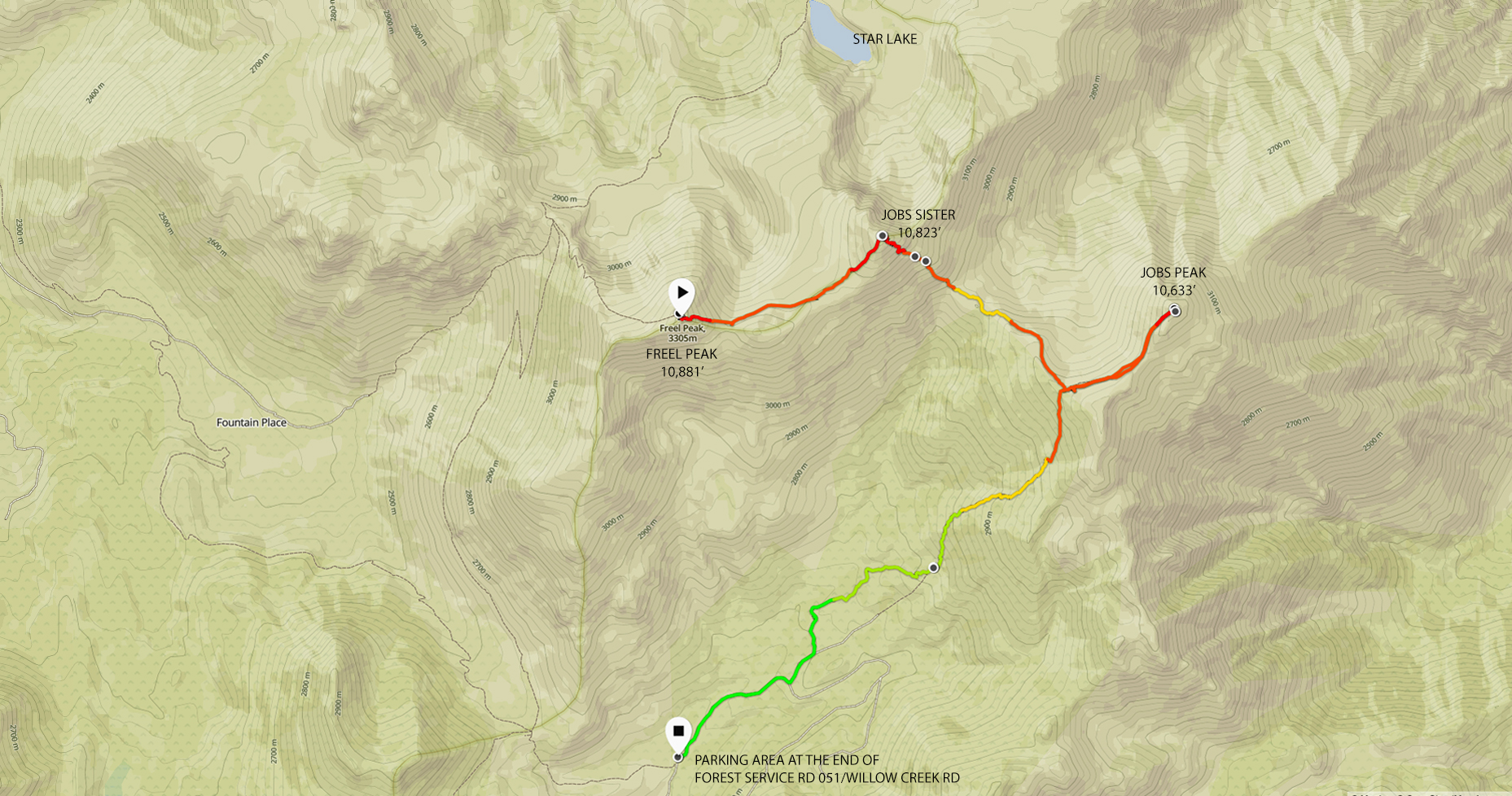 Map of Freel Peak to Forest Service Road 051 via Jobs Sister and ...