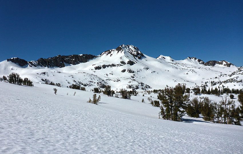 Snow-covered trail to Winnemucca Lake with Round Top in the distance and blue skies overhead