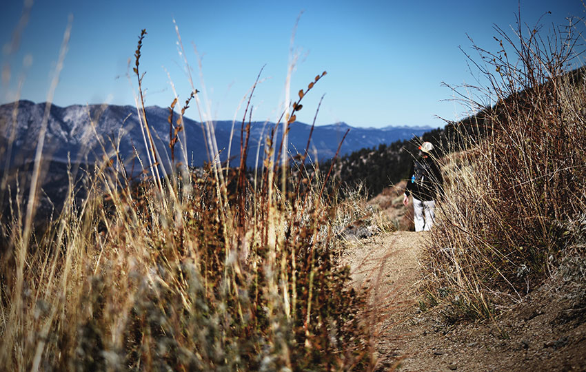 Person hiking on the trail through Armstrong Pass en route to Freel Peak