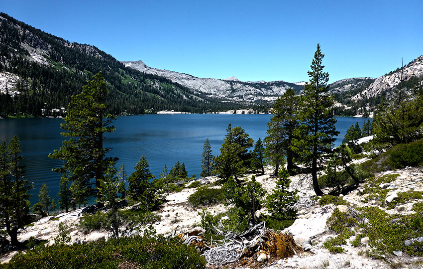Echo Lake in Desolation Wilderness surrounded by trees and mountains