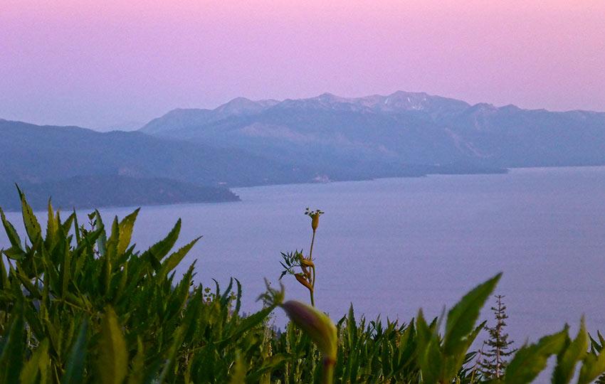 Pastel sunset at Lake Tahoe viewed from the Tahoe Rim Trail
