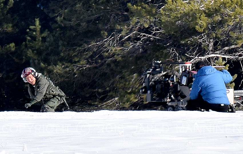 Tom Cruise running through the snow while filming Top Gun: Maverick