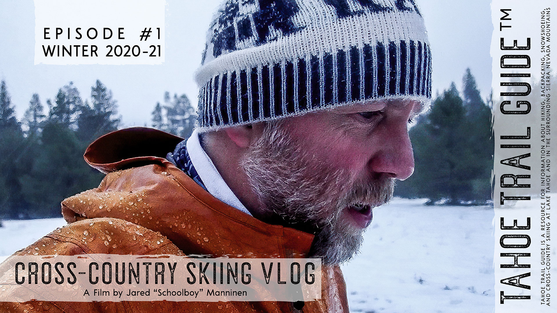 Man cross-country skiing in rainy weather